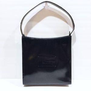 Gucci vintage black enamel leather hobo handbag